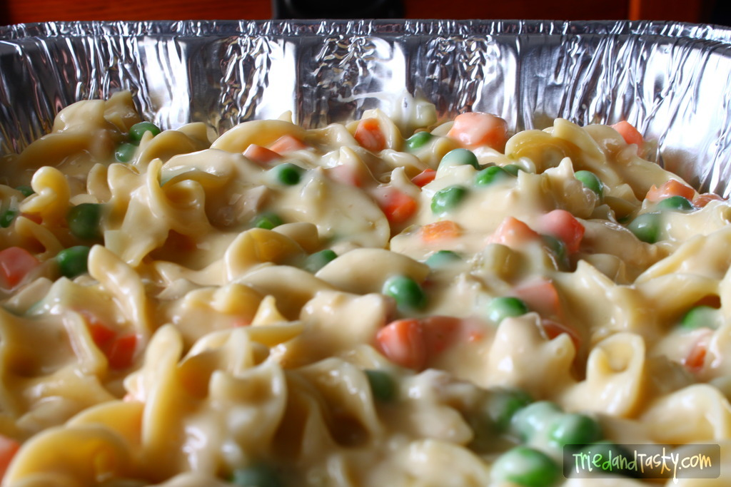 Creamy Chicken Casserole // Need an idea for a great freezer meal? This Creamy Chicken Casserole is perfect! Loaded with chicken, veggies, and a whole lot of creamy wonderful goodness - your family will thank you! | Tried and Tasty