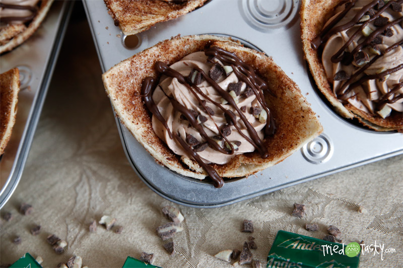 Andes Mint Tortilla Cups // These are to die for. If you love Andes, or love mint, you will LOVE these! | Tried and Tasty