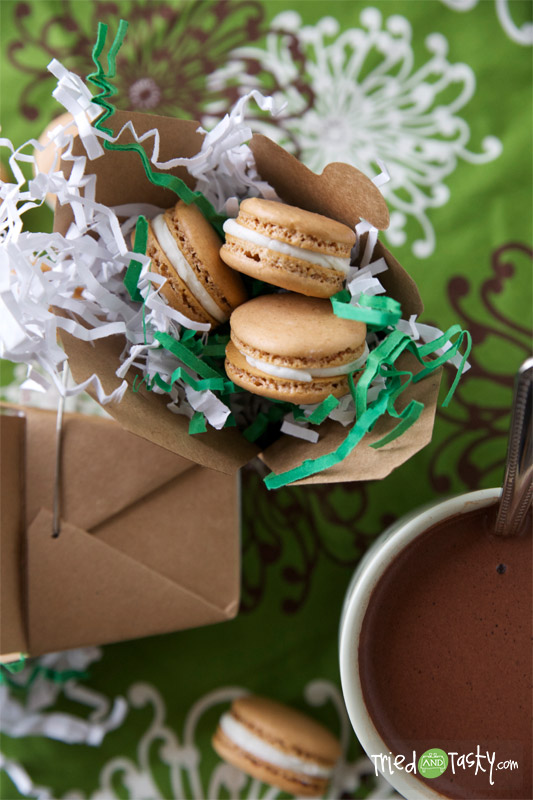 Hot Chocolate Macaroons with Marshmallow Buttercream Frosting // This is a fun flavored macaron for the cold winter season!   Tried and Tasty