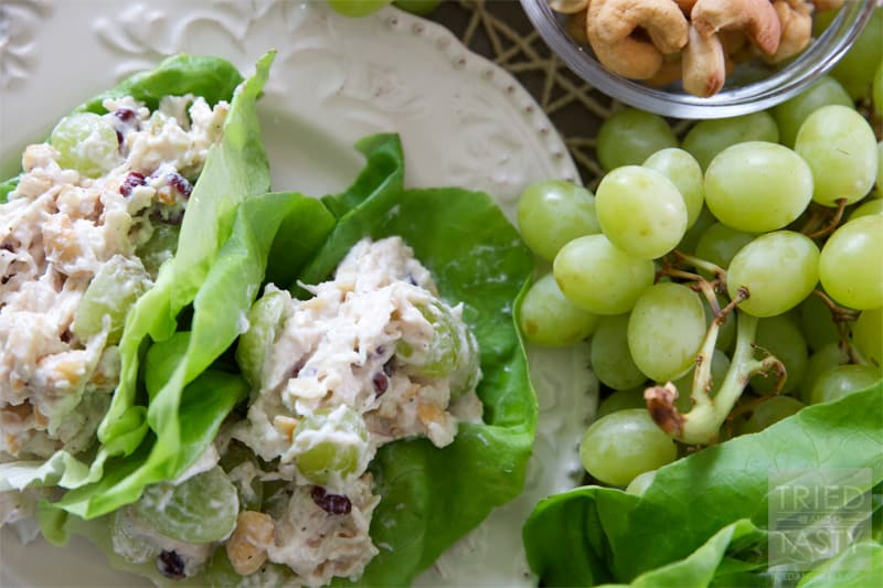 Healthy Cashew Chicken Salad // A healthy twist on the traditional chicken salad. Ditch the bread, throw it in a lettuce wrap and you've got a tasty low-carb low-calorie meal! | Tried and Tasty