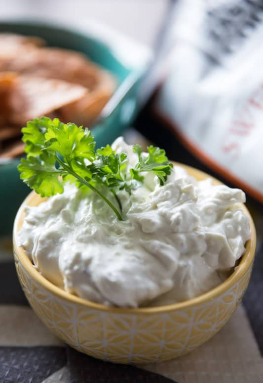 Honeyed Bleu Cheese and Thyme Dip // Paired with Food Should Taste Good Sweet Potato Chips, this dip adds the perfect sweet & salty element! Great for any party or gathering, sure to impress all of your guests! // Tried and Tasty