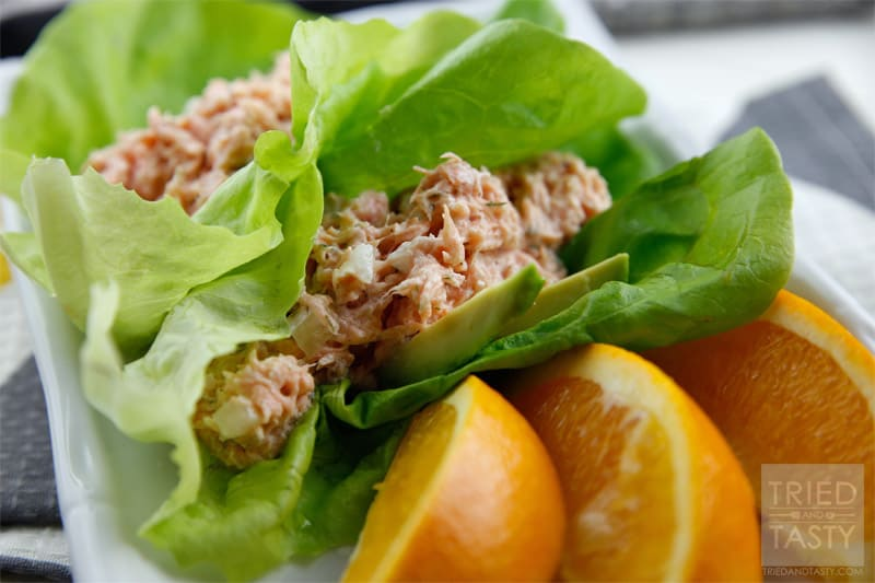 Salmon & Avocado Stuffed Lettuce Wraps // A wonderful way to use leftover salmon that is quick, easy, & healthy! | Tried and Tasty