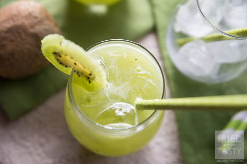 Cucumber Kiwi Agua Fresca   Looking for a delicious green drink made without any artifical coloring, soda, sherbet or ice cream? This Cucumber Kiwi Agua Fresca is PERFECT for you! It's all-natural, delicious, and really simple! Try this refreshing beverage today! // Tried and Tasty