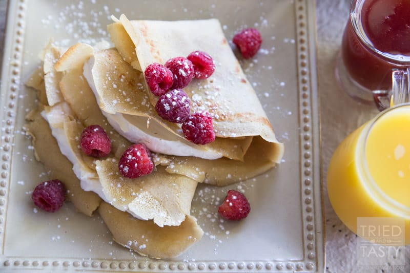 Gluten Free Crepes // This is the perfect breakfast or brunch for a special morning, celebration, or just because. Light, fluffy, and wonderful!   Tried and Tasty