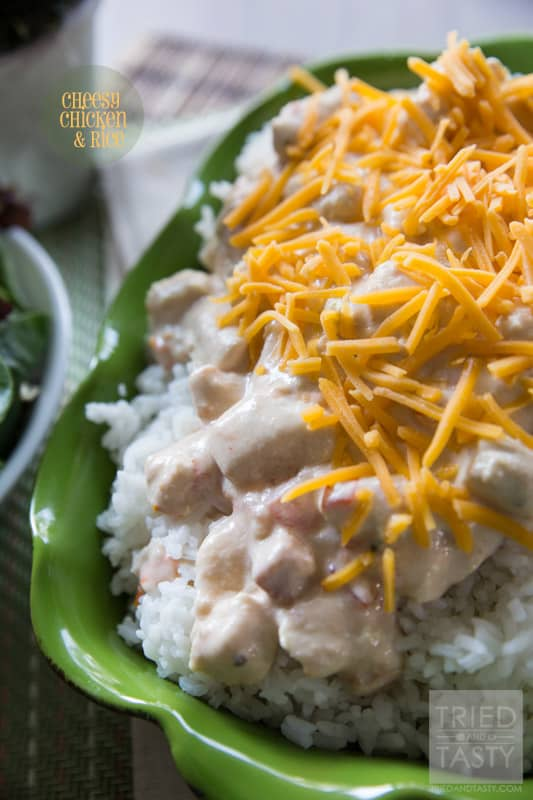 cheesy Chicken & Rice // This delicious meal is both simple and tasty. It can also be made in the crock pot for one of those 'set it and forget it' meals. Great for any weeknight or weekend, especially perfect for when you've got friends and family over! | Tried and Tasty