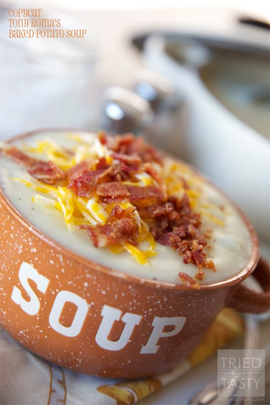 Copycat Tony Romas Baked Potato Soup // Tried and Tasty