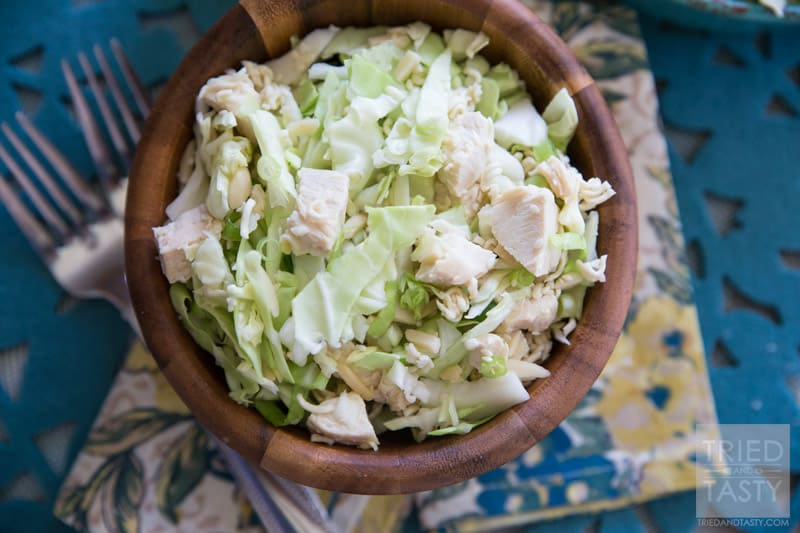Japanese Chicken Salad // This super quick & easy salad can be served as a side or main dish. Perfect for parties & potlucks!   Tried and Tasty