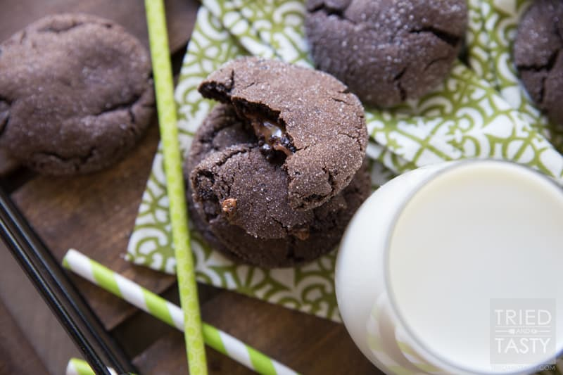 Rolo Cookies // These chocolaty cookies have hte best surprise center: a warm ooey, gooey melty Rolo candy! They are most delicious warm out of the oven, but still tasty after they've cooled and even the next day! Perfect little cookie when you want a special treat!   Tried and Tasty
