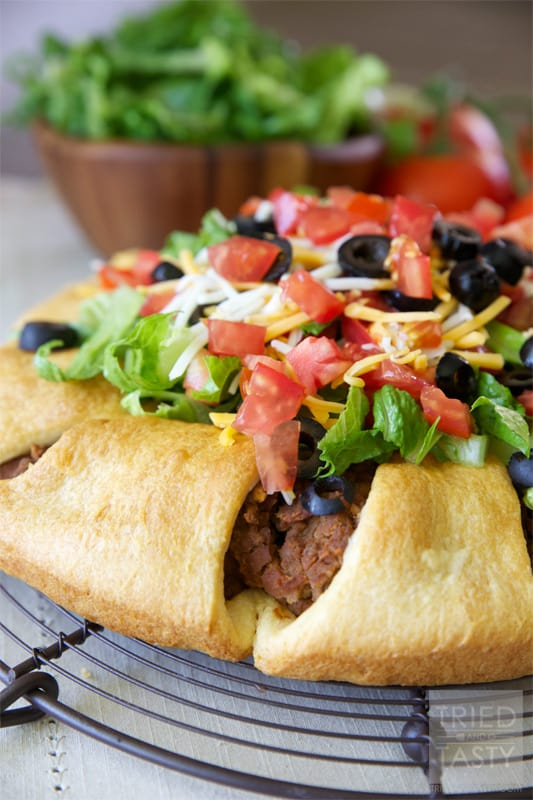 The Pampered Chef Taco Ring // When I was first introduced to Pampered Chef I was invited to a party with my mom. They served this Taco Ring and I fell in love immediately. I've been making this Taco Ring for years and years since and haven't met anyone that doesn't love it as much as I do! | Tried and Tasty