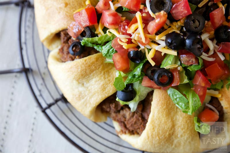 The Pampered Chef Taco Ring // When I was first introduced to Pampered Chef I was invited to a party with my mom. They served this Taco Ring and I fell in love immediately. I've been making this Taco Ring for years and years since and haven't met anyone that doesn't love it as much as I do!   Tried and Tasty