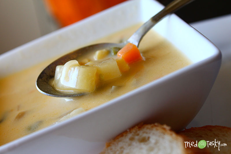 Print Shop Soup // The soup to comfort the soul. It's rich and buttery, loaded with bits of potatoes and veggies. Serve with warm crusty bread. The perfect meal! | Tried and Tasty