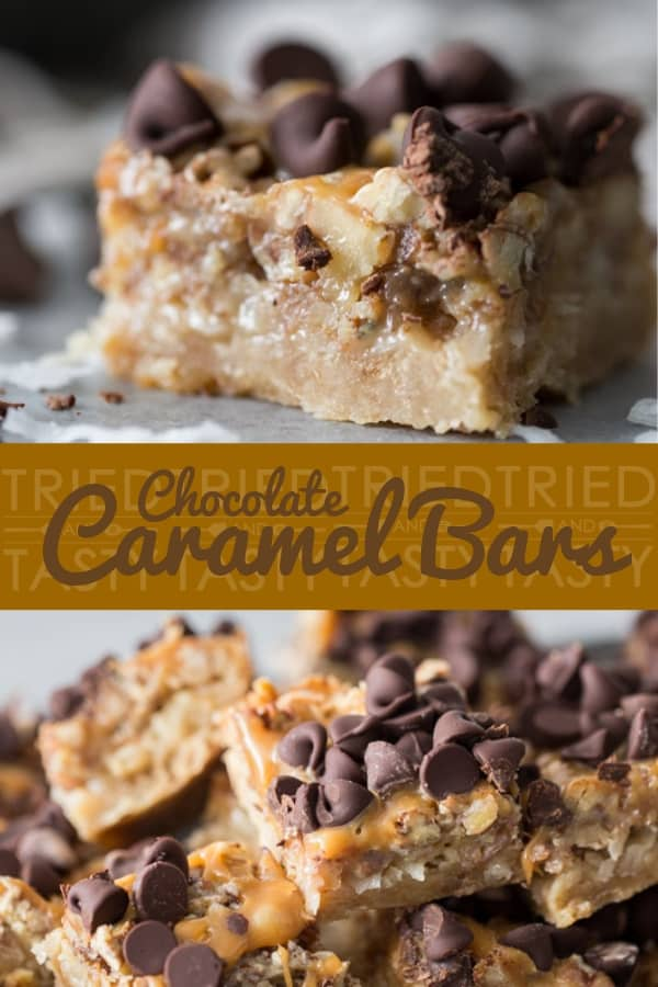Chocolate Caramel Bars // These Chocolate Caramel Bars are basically German chocolate cake in cookie bar form. A sweet shortbread crust topped with coconut, pecans and sweetened condensed milk finished off with a caramel drizzle sprinkled with chocolate. The right amount of chewy, a touch of salty and perfectly sweet! | Tried and Tasty #caramelbars #chocolatecaramelbars #germanchocolatebars #holidaybars