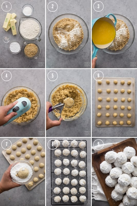 Collage of step-by-step photos of how to make nut butterball cookies