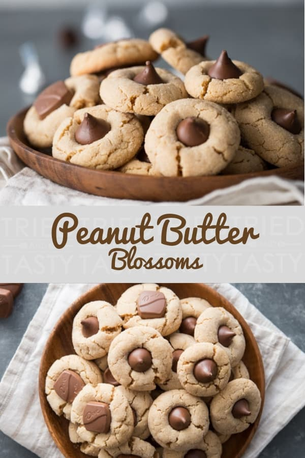 Peanut Butter Blossoms // Perfectly chewy peanut butter cookie on the inside with a sugary slightly crunchy exterior topped with a Hershey\'s kiss. These cookies are the perfect ratio of peanut butter and chocolate.  | Tried and Tasty #peanutbuttercookies #chocolatepeanutbutter #holidaycookies
