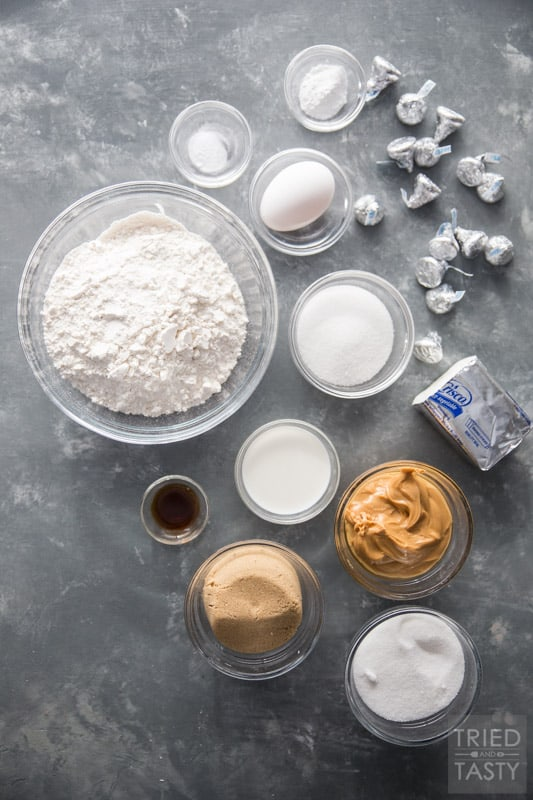 Ingredients on a counter used to make peanut butter blossoms