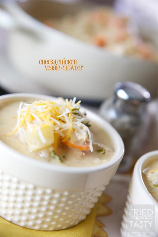 Cheesy  Chicken Veggie Chowder // A great crock pot meal that will have your home smelling wonderful in no time. | Tried and Tasty