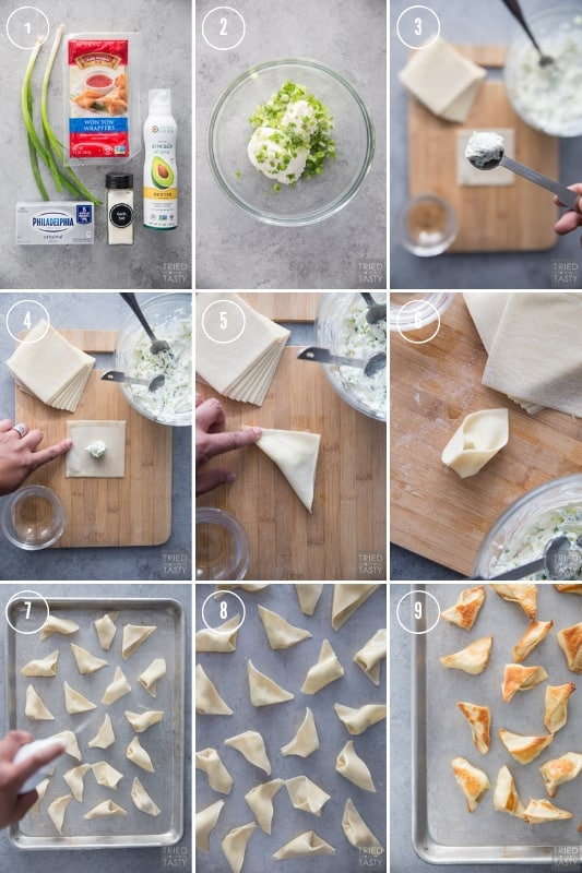 Step-by-step photos of how to make cream cheese wontons