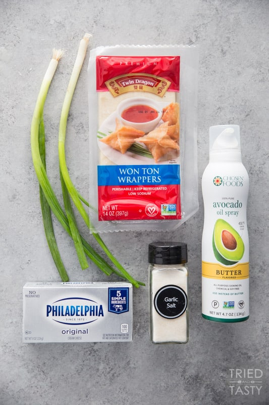The ingredients used to make cream cheese wontons
