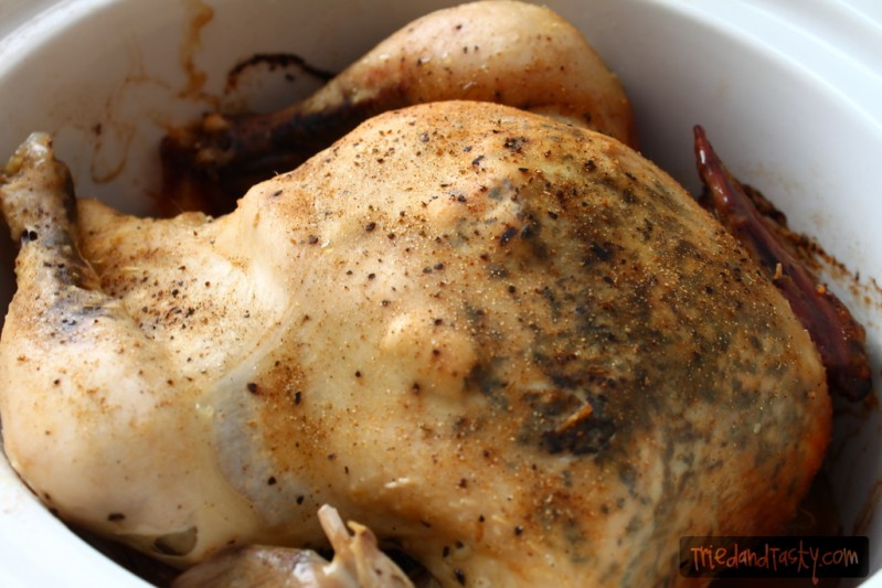 Rotisserie Crock Pot Chicken // Who knew you could rotisserie cook a chicken in your slow cooker? Well I'm here to tell you that it works and it's fabulous! Give it a try! | Tried and Tasty