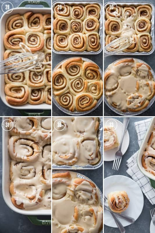 Collage of step-by-step photos showing how to make cinnamon rolls