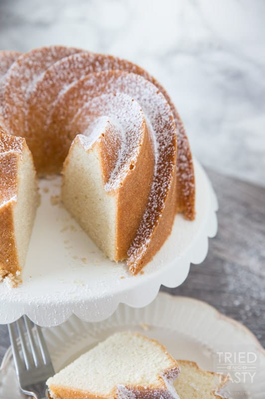 Mom's Pound Cake // This family favorite recipe is certain to please all of your tastebuds! Easy to whip together and passed down from several generations, this cake is flavorful and made with love! | Tried and Tasty