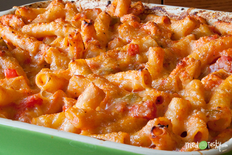 Chicken Ziti Bake // This hearty pasta bake is simple, quick, and delicious! | Tried and Tasty