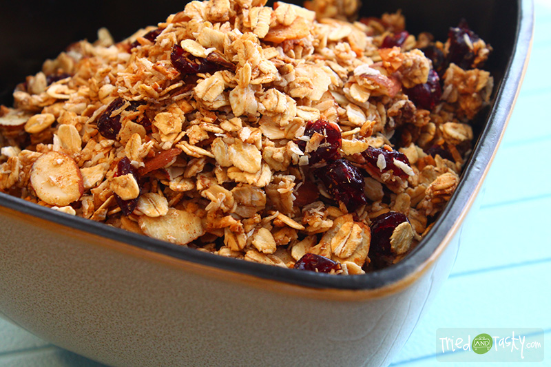 Coconut Almond Granola // This delicious Coconut Almond Granola is great as a parfait with plain yogurt and a banana! Yum! | Tried and Tasty