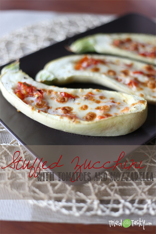 Stuffed Zucchini with Tomatoes and Mozzarella // Pair this stuffed zucchini as a side dish or enjoy it as a main dish - either way you will love it! | Tried and Tasty