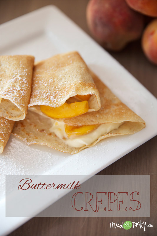 Buttermilk Crêpes // These buttermilk crepes make for a sweet treat for breakfast, brunch, or dessert!   Tried and Tasty