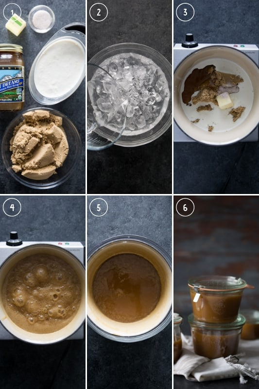 Step-by-step photos of making homemade caramel