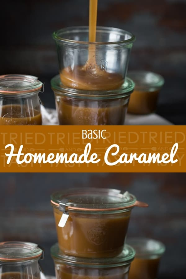 Basic Homemade Caramel // Made with only five ingredients you can whip this up in no time at all. Perfect over ice cream, on top of brownies, drizzled over cinnamon rolls or simply on a spoon itself! Once you've had this homemade version you'll never reach for the jar at the store again. | Tried and Tasty