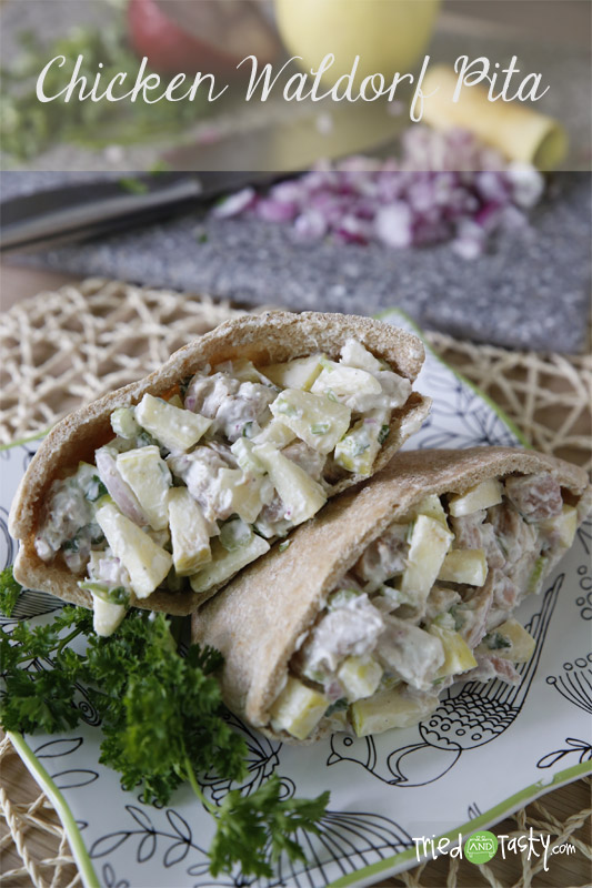 Chicken Waldorf Pita // This Chicken Waldorf Pita is low-calorie, quick to make, and will keep you full! | Tried and Tasty