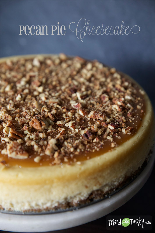 Pecan Pie Cheesecake // You have not lived until you've tried this cheesecake! It's out of this world good, and would the be the star of any party, get together, or holiday. With my Basic Homemade Caramel recipe, the topping will give your heart a pitter patter! | Tried and Tasty