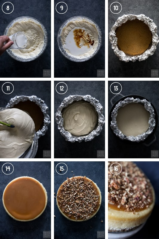 Step-by-step collage of how to make pecan pie cheesecake
