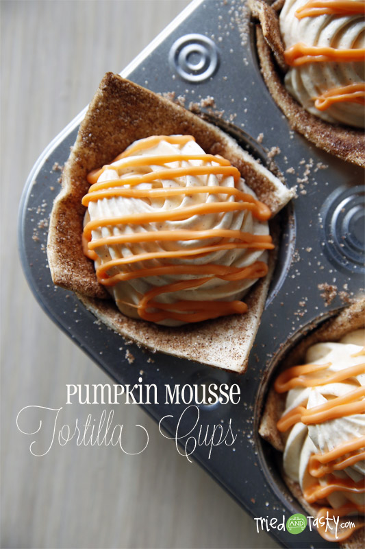 Pumpkin Mousse Tortilla Cups // These pumpkin tortilla cups are such a fun dessert. They're great for any holiday occasion! | Tried and Tasty