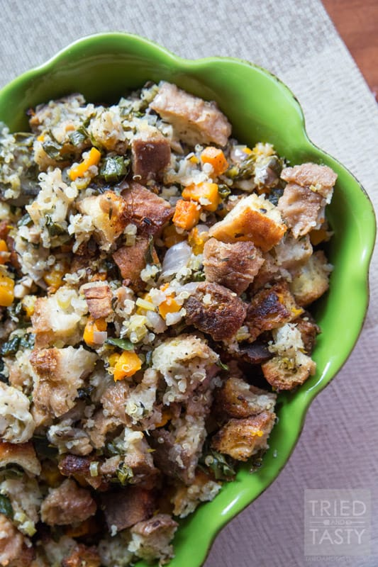 Butternut Squash Quinoa Kale Stuffing // Tried and Tasty