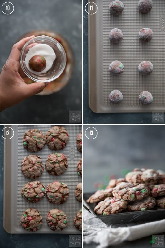Step-by-step photos of how to make chocolate crackletop cookies