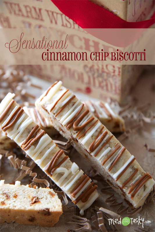 Cinnamon Chip Biscotti // These are a little softer than your average biscotti and are perfect served with a warm beverage or alone!   Tried and Tasty