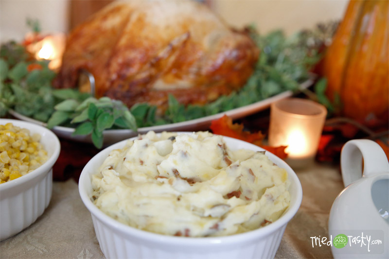 Creamy Mashed Potatoes // I love that this mashed potato recipe has the potato skin still mixed in! | Tried and Tasty