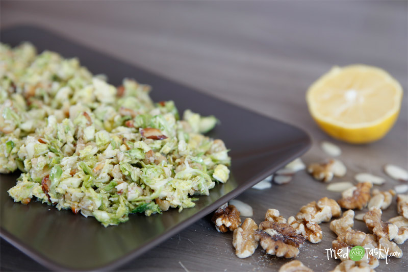 Chopped Brussels Sprouts Salad // This brussels sprouts salad is INSANELY good. It's super simple and really quick to throw together. | Tried and Tasty