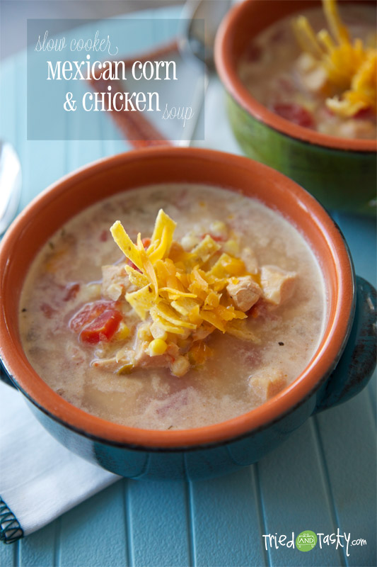 Slow Cooker Mexican Corn & Chicken Soup // This slow cooker fish is delicious! It's warm, it's comforting, and it's guilt-free: all the things we want in our meals. | Tried and Tasty