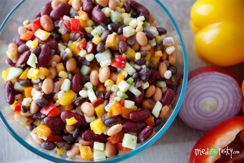 Three Bean Salad with Corn & Peppers // A delicious & healthy salad that is perfect paired with any meal! | Tried and Tasty