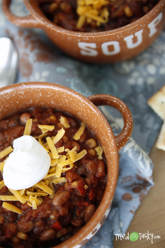 Slow Cooker Vegetarian Chili // A delicious & heart chili that is perfect for any vegetarian, or even those who don't mind meat either! | Tried and Tasty