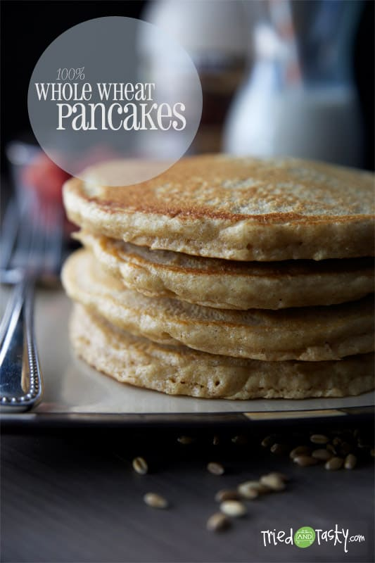 100% Whole Wheat Pancakes // The most delicious whole wheat pancakes you'll ever sink your teeth in to! These are absolutely FABULOUS! | Tried and Tasty