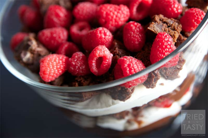 Raspberry Brownie Trifle Recipe // A beautiful layered dessert that's large enough to not only impress your guests but also feed a crowd. | Tried and Tasty
