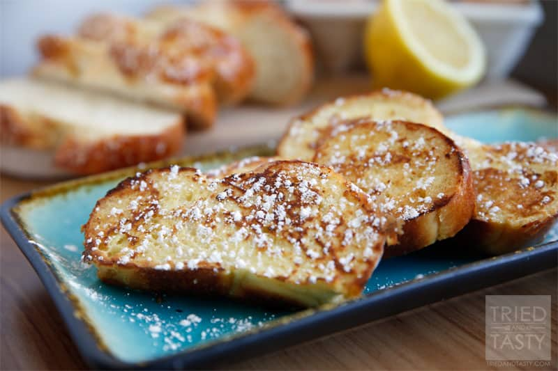 Lemon French Toast Recipe // A slightly citrusy twist of a popular breakfast staple. If you love lemon, you'll love this french toast recipe! | Tried and Tasty