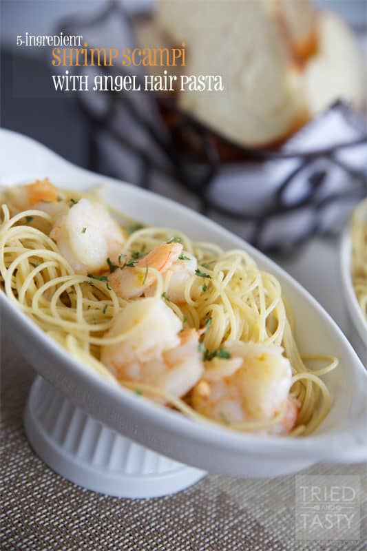 5-Ingredient Shrimp Scampi with Angel Hair Pasta // The perfect light meal that's ready in no time perfectly portioned for two small meals, or one large one. | Tried and Tasty