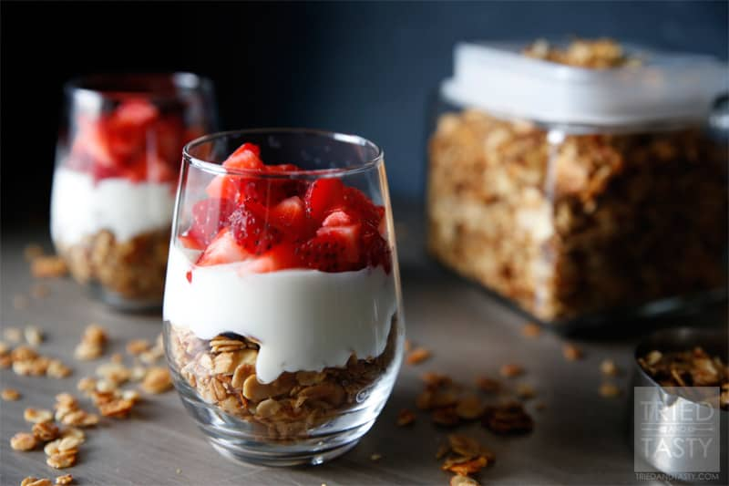 Fruit & Yogurt Breakfast Parfait with Honey Almond Granola // Granola paired with your favorite fruit and yogurt. What could be better? | Tried and Tasty