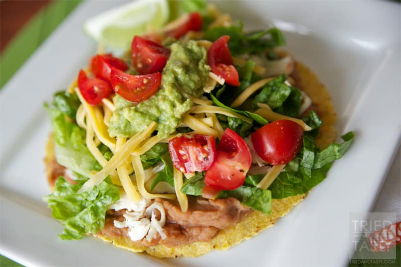 Dinner Ideas: Quick & Easy Chicken Tostadas // This not only needs to be added to your list of dinner ideas – but go ahead and add it to your lunch ideas too! | Tried and Tasty