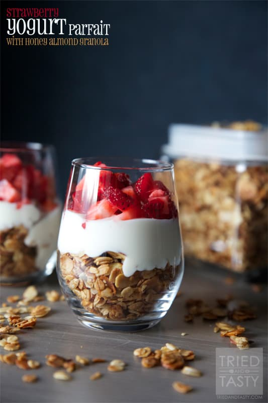 Strawberry Yogurt Parfait with Honey Almond Granola // Tried and Tasty